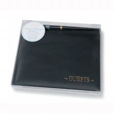 Guest Book- Black with Gold