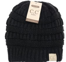 Kid's CC Knit Beanie- Black