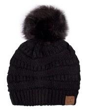 CC Knit Beanie w/ Pom- Black