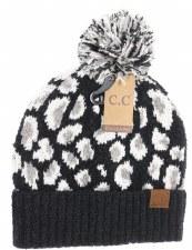 CC Knit Beanie, Leopard Print- Black
