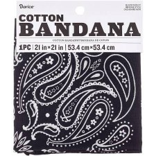 "Cotton Bandana 21""x21""- Paisley Black"