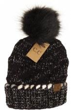 CC Knit Beanie, Ombre Thread w/ Pom- Black