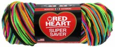 Red Heart Super Saver Yarn, Mulit-Color- Blacklight