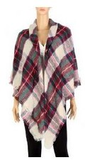 Blanket Scarf- Plaid: Black, Red, & Green