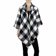 Blanket Scarf- Buffalo Check: Black & White