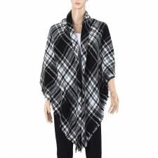 Blanket Scarf- Plaid: White & Black