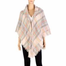 Blanket Scarf- Plaid: Pink & Grey
