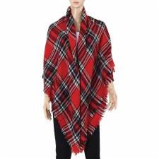 Blanket Scarf- Plaid: Red, Black, & Ivory