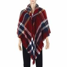 Blanket Scarf- Plaid: Burgundy, Navy, & White