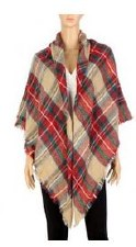 Blanket Scarf- Plaid: Tan, Red, & Green