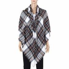 Blanket Scarf- Plaid: White, Navy, & Burgundy