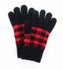 Buffalo Plaid Knit Texting Gloves- Black & Red