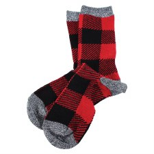 Great Northern Buffalo Check Crew Socks- Ladies