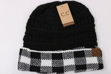 CC Knit Beanie- Buffalo Check, White & Black