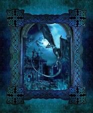 Fabric Panel- Dragon's Blue Fury