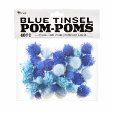 Tinsel Pom-Poms- Blue