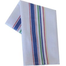 "Vintage Style 20"" x 28"" Tea Towel- Multi Color Stripes on White"