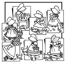 Aunt Martha's Iron On Transfers- Bonnie Bonnett #3920