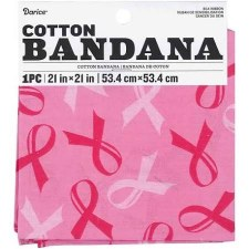 "Cotton Bandana 21""x21""- Breast Cancer Awareness"