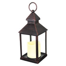 Lantern w/ LED Candle- Brown