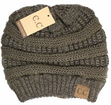 CC Knit Beanie- Metallic Brown