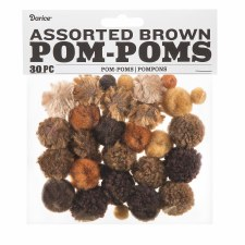 Assorted Pom-Poms- Brown