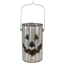 "Corrugated Metal 12"" Jack O Lantern- Cylinder"
