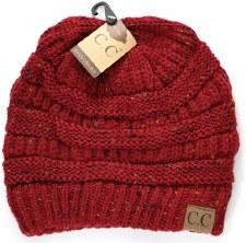 CC Knit Beanie- Burgundy Confetti