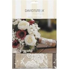 Bouquet Wrap- Burlap & Cream Lace