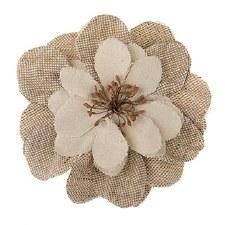Floral Burlap Embellishments, 1ct- Burlap & Ivory