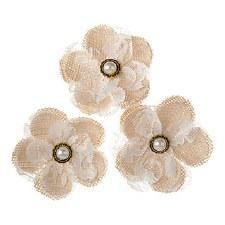 Floral Burlap Embellishments, 3ct- Burlap & Lace