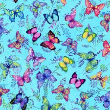 Butterfly Paradise Bolted Fabric- Butterfly Toss, Lt Blue