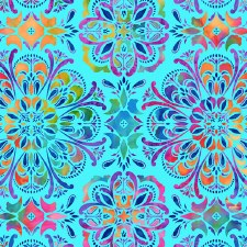 Butterfly Paradise Bolted Fabric- Medallion, Light Blue