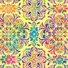 Butterfly Paradise Bolted Fabric- Medallion, Yellow