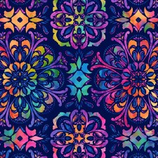 Butterfly Paradise Bolted Fabric- Medallion, Navy