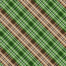 Cabin Welcome Bolted Flannel- Diagonal Plaid, Green