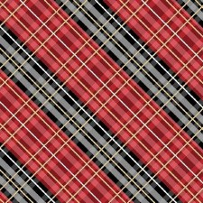 Cabin Welcome Bolted Flannel- Diagonal Plaid, Red