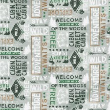 Cabin Welcome Bolted Flannel- Words, Gray