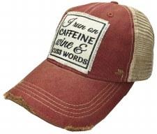 Women's Trucker Baseball Cap- Caffeine, Wine, & Cuss Words