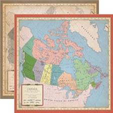 Cartography No.1 12x12 Paper- Canada Map