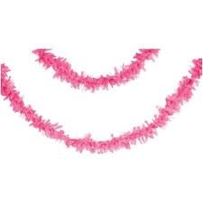 Tissue Fringe 25' Garland- Candy Pink