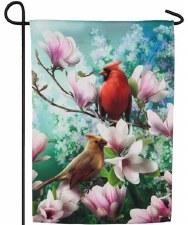 Garden Flag, Suede- Cardinal Family