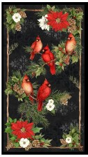 Christmas & Winter Fabric Panel- Cardinal Noel