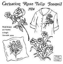 Aunt Martha's Iron On Transfers- Carnation, Rose, Tulip, & Jonquil #3924