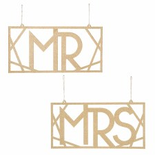 Hanging Wedding Signs- Mrs & Mrs Chair Signs