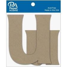 """4"""" Chipboard Letter, 2pk- Uu"""