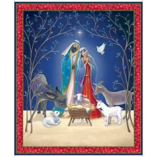Christmas & Winter Fabric Panel- Christ is Born
