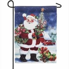 Holiday Garden Flag- Barn Santa