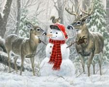 Christmas & Winter Fabric Panel- Christmas Friends Snowman