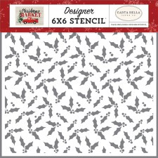 Christmas Market Designer 6x6 Stencil- Christmas Holly